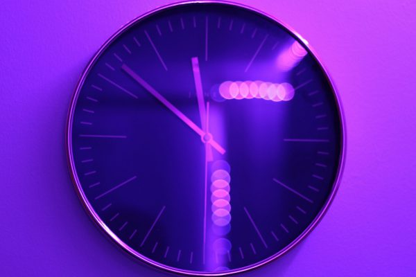 Purple Lit Clock