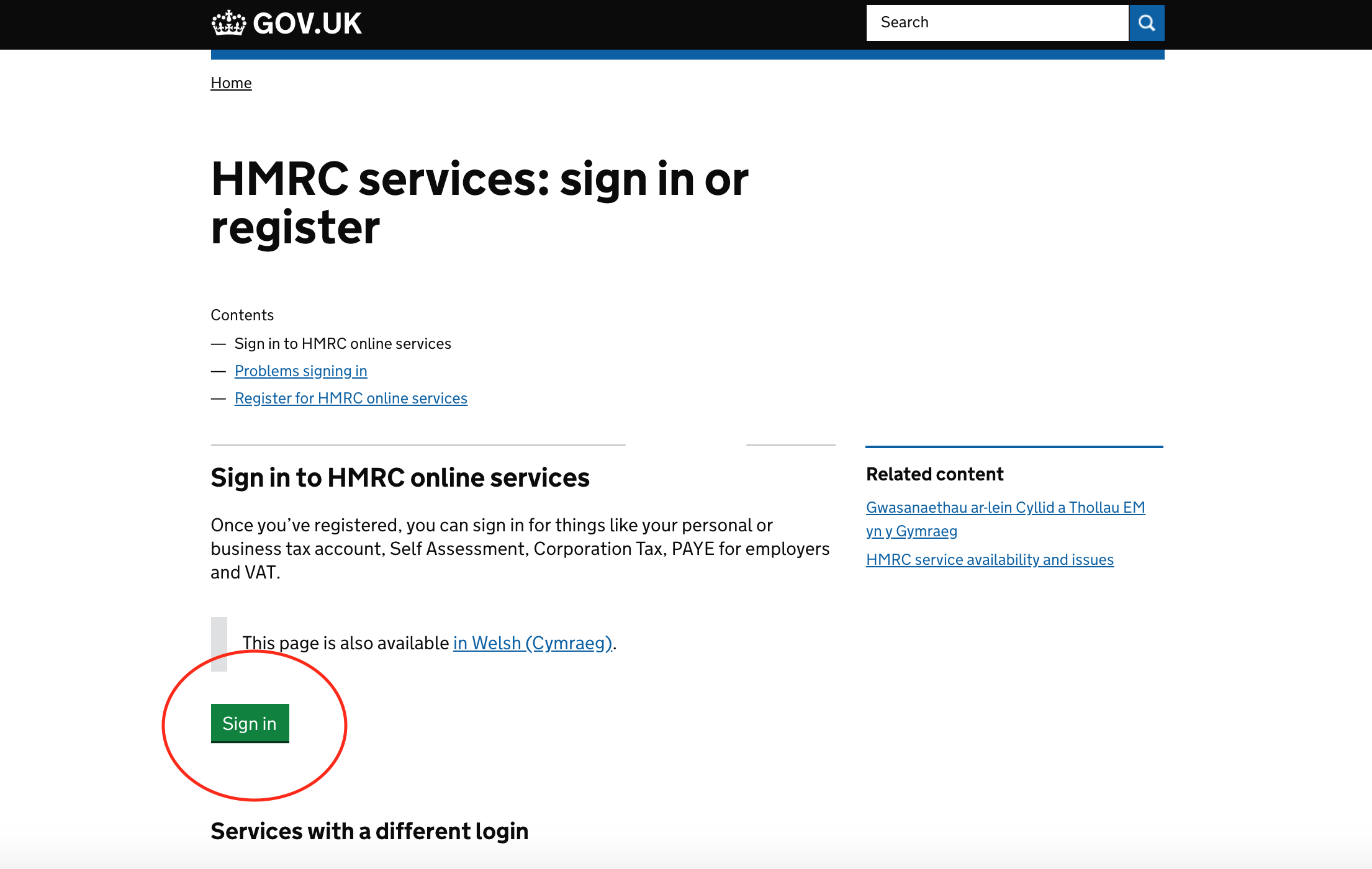 HMRC sign in