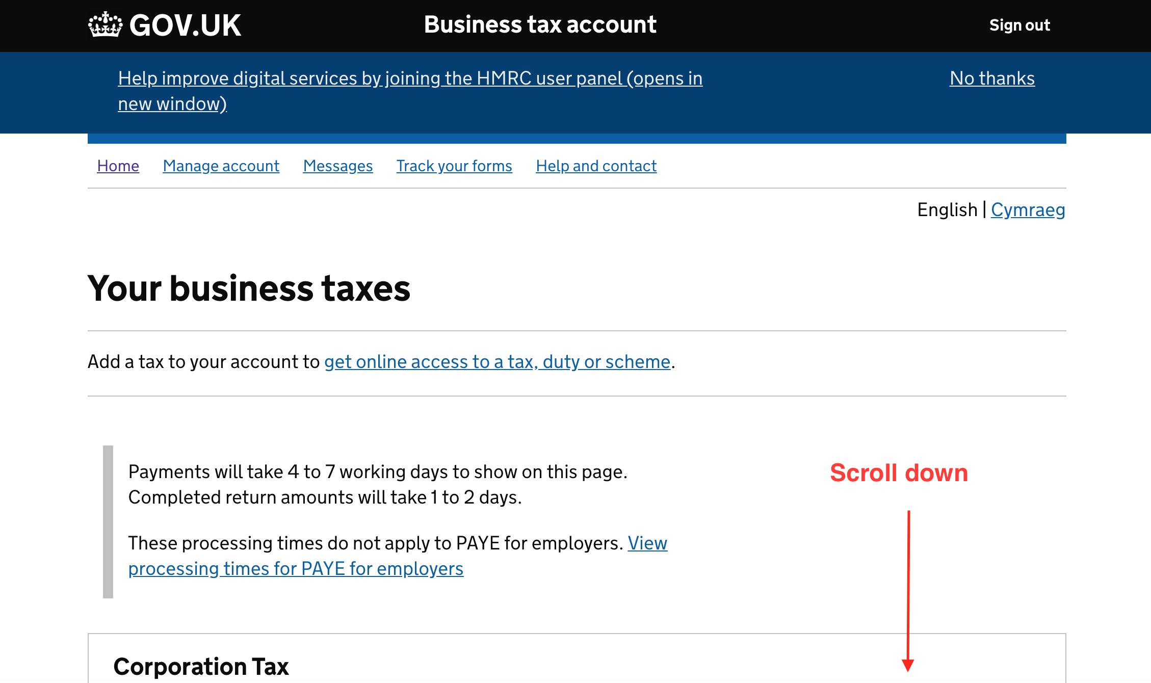 HMRC logged in dashboard homepage