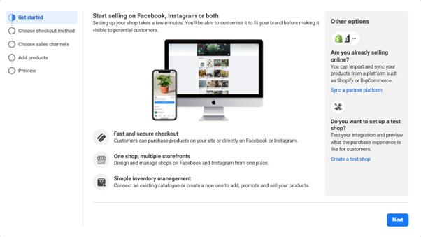 Facebook Shops screen capture of set up